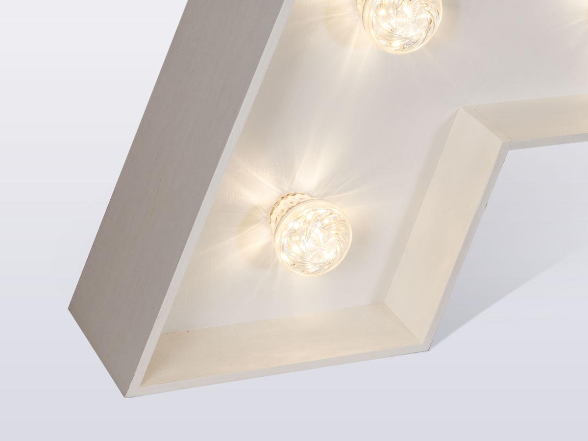 Widok z bliska na lampkę litery